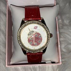 Betsey Johnson Red Glitter Lady Bug Watch NWT
